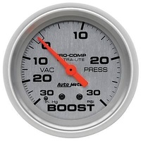 "Autometer AU4403 Ultralite 2-5/8"" Mechanical Boost/Vacuum Gauge 30in. HG/30psi"