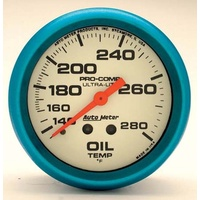 "AUTOMETER ULTRA-NITE 2-5/8"" MECHANICAL OIL TEMPERATURE GAUGE 140-280°F AU4541"
