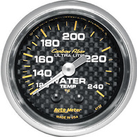 "AUTOMETER CARBON FIBER 2-1/16"" MECH WATER TEMPERATURE GAUGE 120-240°F AU4732"