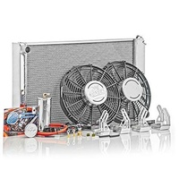 BE COOL ALLOY CROSSFLOW RADIATOR BCP83187 WITH THERMO FANS SUIT MUSTANG 67-69