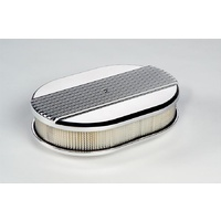 "BILLET SPECIALTIES SMALL OVAL POLISHED AIR CLEANER 11.875x 8.375"" RIBBED BS15630"