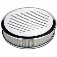 "BILLET SPECIALTIES 14 X 3"" ROUND POLISHED ALLLOY AIR CLEANER BALL MILLED BS15820"
