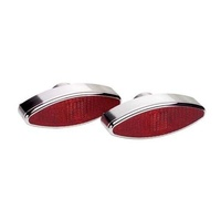 "BILLET SPECIALTIES POLISHED ALUMINIUM LARGE OVAL TAILLIGHTS 6"" X 2-1/8"" BS61420"