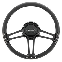 "14"" Billet ""Draft"" Black Steering Wheel (Half Wrap, Horn Button and Adapter Sold Separately) (BSBLK29263DRAFT)"
