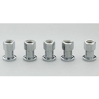 "CENTERLINE 1/2"" SHANK WHEEL NUTS CEL-5112 OPEN END 7/16"" x 20 RH CHROME 5 PACK"