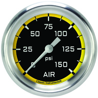 "Classic Instruments (AX318YAPF) Autocross Yellow 2 5/8"" Air Pressure Gauge"