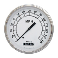 "Classic Instruments (CW56SLF) Classic White 4 5/8"" Speedometer 140 MPH"
