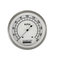 "Classic Instruments (CW58SLF) Classic White 4 5/8"" Speedometer 200 KPH"