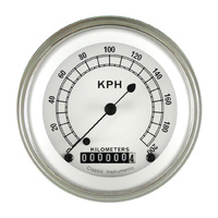 "Classic Instruments (CW59SLF) Classic White 3 3/8"" Speedometer 200 KPH"