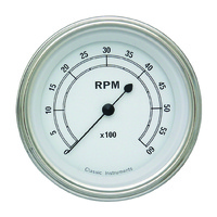 "Classic Instruments (CW60SLF) Classic White 3 3/8"" Tachometer 6K RPM"