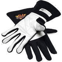 DJ SAFETY 2 LAYER SFI 3.3/5 RACING GLOVES MEDIUM NOMEX & LEATHER BLACK DJ022039