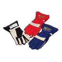 DJ SAFETY 2 LAYER SFI 3.3/5 RACING GLOVES X-LARGE NOMEX & LEATHER BLUE DJ022053