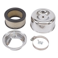 "EDELBROCK CHROME 4.66"" X 3.125""  AIR CLEANER SUITS 94 CARBURETOR ED1202"