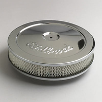 "ELBROCK AIR CLEANER 10"" X 3.5"" CHROME BASE & TOP PLATE RAISED 0.75"" ED 1208"