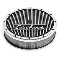 "EDELBROCK ENDURASHINE ELITE SERIES 14X3"" AIR CLEANER 1"" DROP 5-1/8"" NECK ED42074"