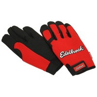 EDELBROCK MECHANICS GLOVES ED9138, SIZE X LARGE RED/BLACK
