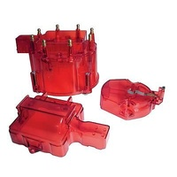 GM HEI DISTRIBUTOR CAP & ROTOR KIT EMAG5237 SEE-THROUGH RED SUIT CHEVY V8