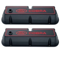 'Ford Cobra' Die-Cast Alum Valve Covers Black Crinkle Red Recessed Emblems.