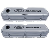 'Ford Racing' Stamped Steel Valve Covers Chrome Black Recessed Emblems.