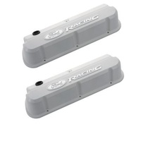 'Ford Racing' Die-Cast Valve Covers Slant-Edge White Raised Emblems.