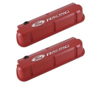 'Ford Racing' Die-Cast Valve Covers Slant-Edge Red Raised Emblems.