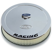 'Ford Racing' Air Cleaner Kit Chrome Raised Ford Logo Black Racing Logo