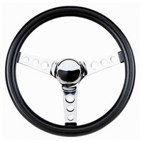"11-1/2"" Classic Series Steering Wheel (Chrome 3 Spoke, Black Vinyl Grip. 3-3/4"" Dish) (GR834)"
