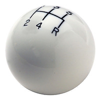 HURST CLASSIC 5 SPEED SHIFTER KNOB WHITE UNIVERSAL 3/8-16in THREAD HU1630008