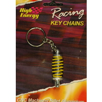 HIGH ENERGY RACING KEY RING ALUMINIUM SHOCK ABSORBER SILVER/YELLOW KR6652Y