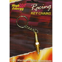 HIGH ENERGY RACING KEY RING ALUMINIUM SPARK PLUG GOLD ANODISED KR6654G