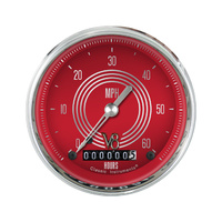 Classic Instruments (LSV8RS) Low Speed Speedo, V8 Red Steelie