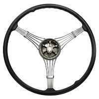 "17"" Banjo Steering Wheel (3-Spoke Black Rubber Grip With No Horn Button) (LWD91A3600B)"