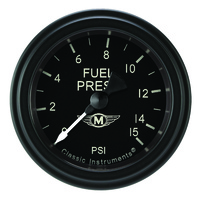 "Classic Instruments (MA145BLF) Moal Bomber 2 1/8"" Full Sweep Fuel Pressure 15psi"