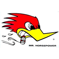 "Clay Smith ""MR HORSEPOWER"" Sticker (Large With Woodpecker logo, 6.5"" (H) x 11"" (W) R/H) (MNCSD18R)"