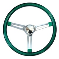 "15"" Metal Flake Steering Wheel (Chrome Slotted 3 Spoke Green Rubber Grip 3"" Dish) (MNGS270CMCR)"