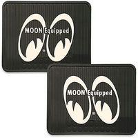 MOONEYES RUBBER FLOOR MATS MNMP082BK REAR BLACK WITH MOON EQUIPPED LOGO 1PR