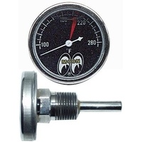 "1-1/2"" Water Temp Gauge 100-280° F (Black Face, Liquid Filled, Direct Mount) (MNMPG109SLF)"