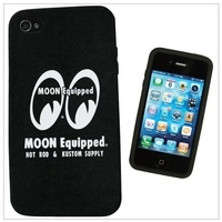 MOONEYES I-PHONE 4 SOFT RUBBER COVER BLACK WITH MOON EQUIPPED LOGO MNMQG039BK