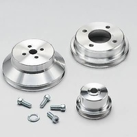 MARCH BILLET ALUMINIUM V BELT PULLEY SET FORD BB POLISHED CLEAR COATED MPP 1810