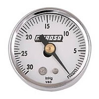 "MOROSO MECHANICAL VACUUM GAUGE 0-30 Hg 1 1/2"" DIAMETER WHITE/CHROME MO 89610"