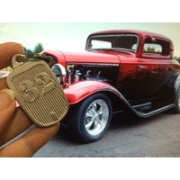 32 FORD GRILLE SHAPED KEYRING KEYCHAIN CAST ALUM O'BRIEN TRUCKERS OTKC32