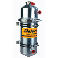 "PETERSON 2 GAL DRY SUMP OIL TANK PFS08-0006 DUAL SCAVENGE INLET 19.5""H x 6"" OD"