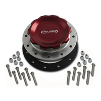 Pro-Werks PWC74-716 4-1/4 in. RED FILL CAP WITH SILVER ALUMINUM 12 HOLE FUEL CELL BUNG