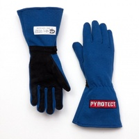 PYROTECT TWO LAYER BLUE NOMEX RACING GLOVES PYG2430000 LARGE SFI 3.5/5