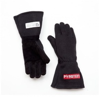 PYROTECT TWO LAYER BLACK NOMEX RACING GLOVES PYG2610000 XX-LARGE SFI 3.5/5