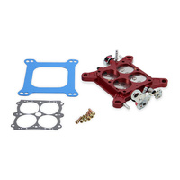 "Billet Throttle Body Assembly - Red (1-11/16"" SS Plates Dual Pump Dual Bolt Pattern 4150/4500) (Q-12-755)"