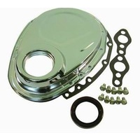 RPC CHROME STEEL TIMING COVER RPCR4934 SUIT CHEV SB 283-350 WITH SEAL & HARDWARE