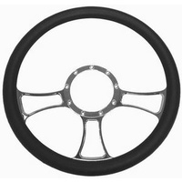 "14"" Trinity Aluminium Steering Wheel (Chrome) (With Leather Grip (Horn Button Not Included)) (RPCR5616)"