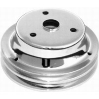 "Chrome Steel Crankshaft Pulley Double Groove 6.90"" Dia 2.30"" Bolt Circle Fits 1969-85 S/B Chev 283-350 w/ Long Water Pump RPCR9607"