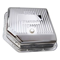 Chrome Steel Transmission Pan GM Turbo 350 3 1/2' Deeper Than Stock Finned Bottom Incl. Drain Plug